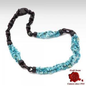 Genuine Turquoise and Ebony Necklace