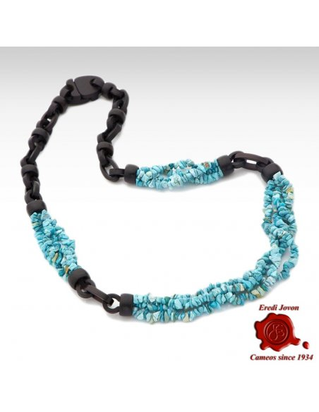 Genuine Turquoise and Ebony Necklace