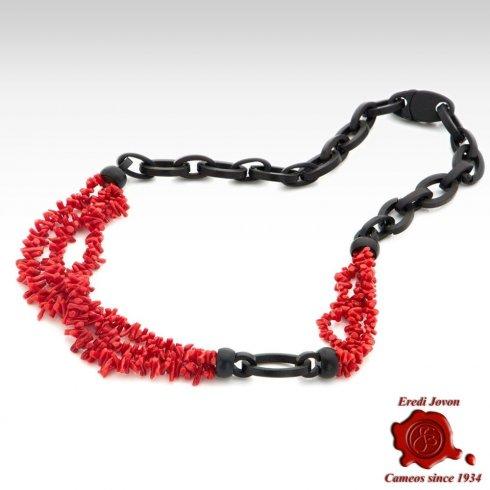 Collana in Corallo Rosso e Ebano