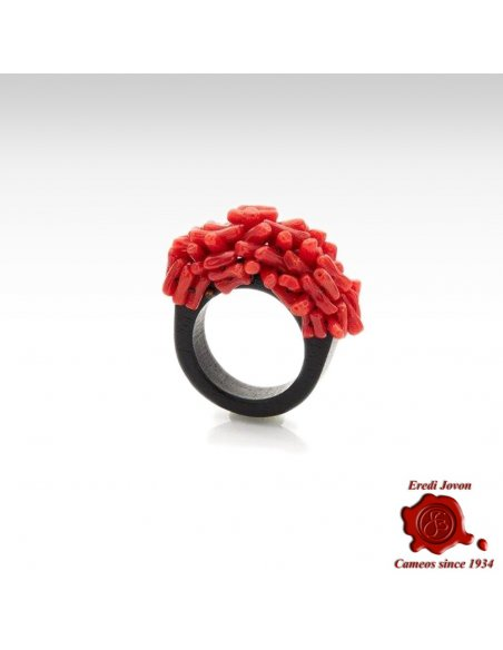 Ring Red Raw Coral Ebony