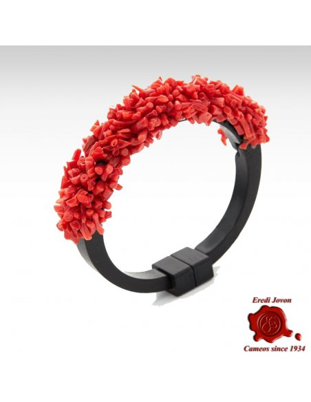Ebony and Coral Bracelet