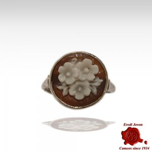 Cameo Sardonica Flower Silver Ring