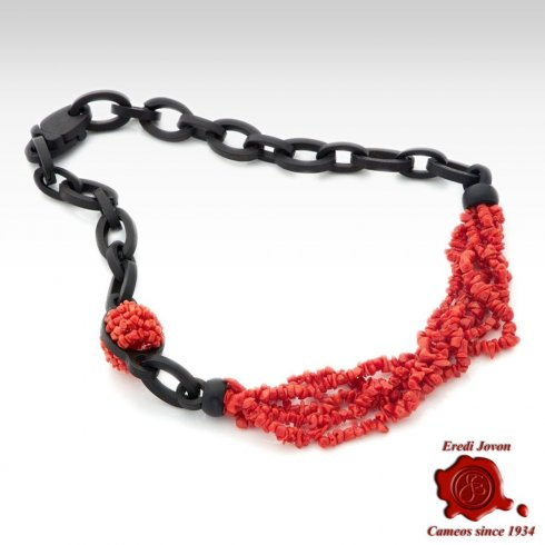 Red Coral Ebony Necklace