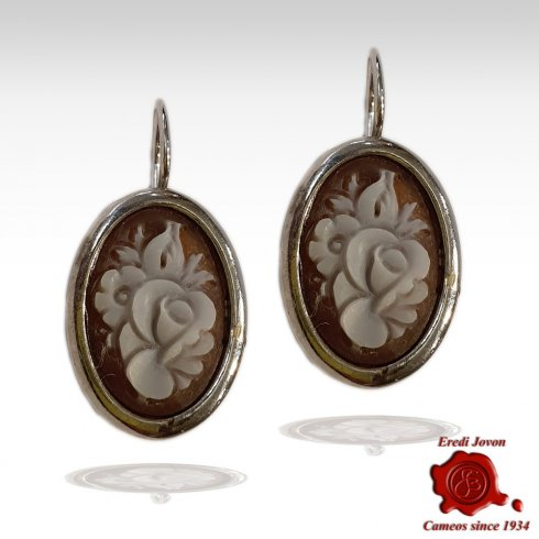 Shell Cameo Flower Dangle Earrings Sardonica