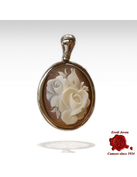 Pendant Cameo Flower in Silver