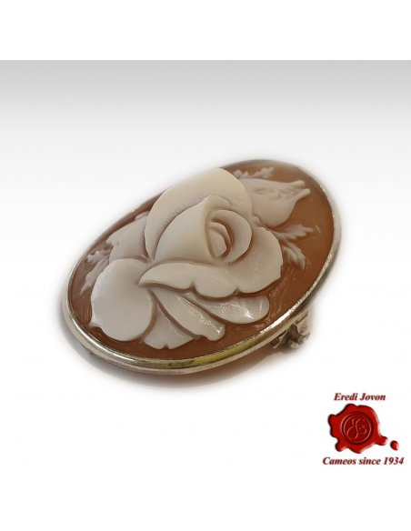 Brooch Cameo Flower in Silver