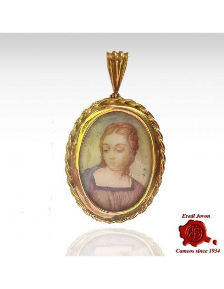 Ritratto Miniatura Madonna del Cardellino in Oro