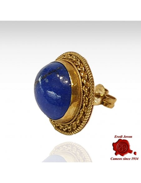 Filigree Lapis Lazuli Studs Earrings in Gold
