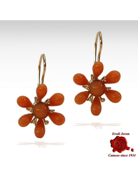 Antique Coral Earrings Daisy
