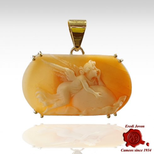 Love Embraces Moon Antique Cameo