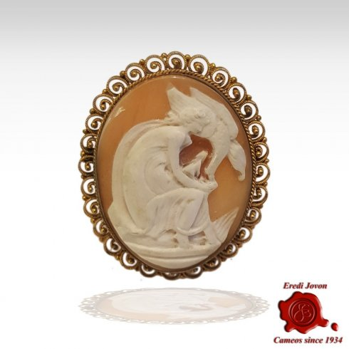 Leda and the Swan Antique Cameo Filigree