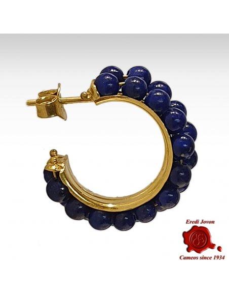 Orecchini Rotondi Lapis Lazuli in Oro Giallo