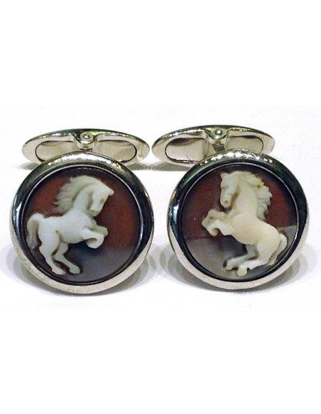 Horse Cameo Cuffs Silver