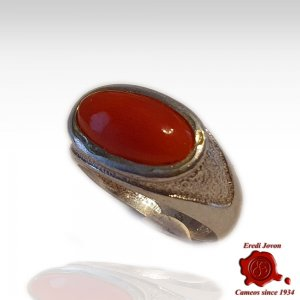 Red Coral Signet Ring Silver