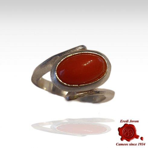 Anello Corallo Rosso Mediterraneo Argento