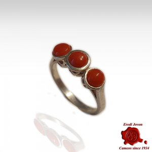 Coral 3 Cabochon Silver Ring