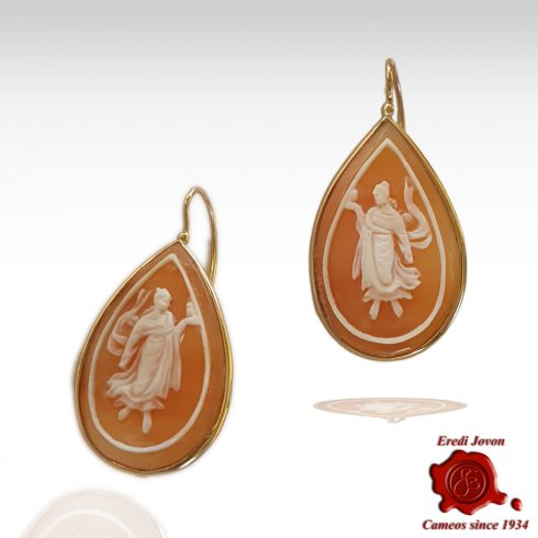 """The Hours"" Cameo Earrings Engraved by Hand"