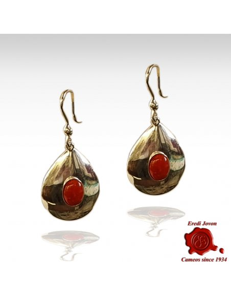 Vintage Italian Coral Silver Dangle Earrings