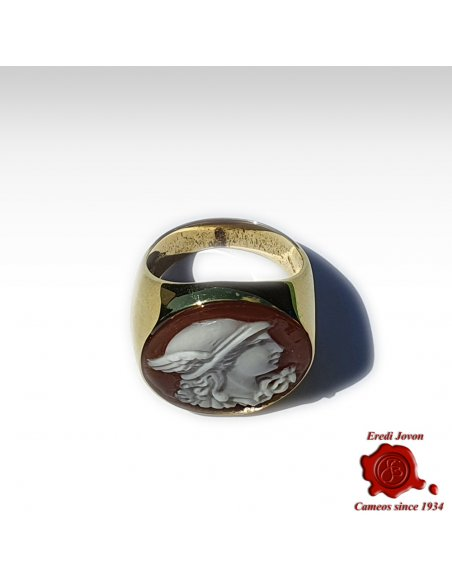 Mercury Cameo Signet Ring Gold