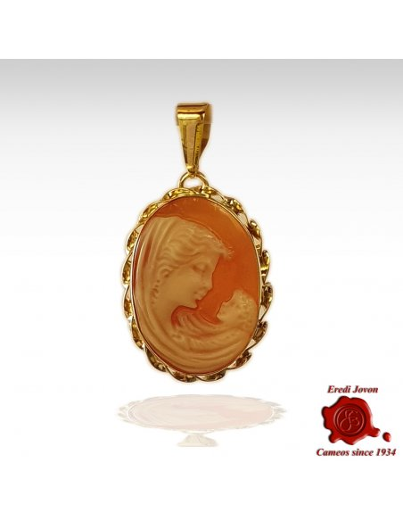 Mother with Child Cameo Gold Necklace