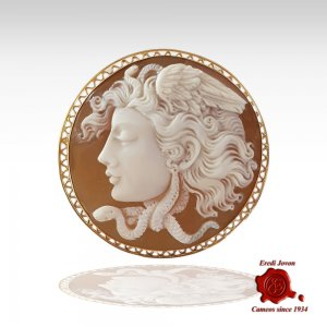 Cameo of Medusa in Gold -...