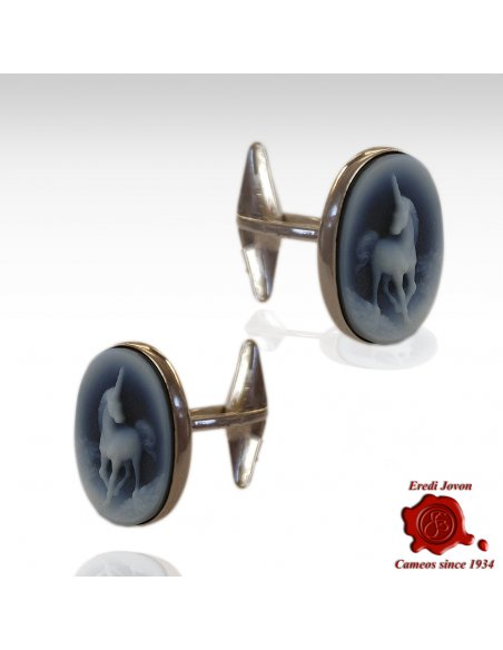 Blue Cameo Unicorn Cufflinks in Silver