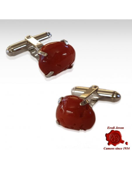 Red Coral Cufflinks with Silver