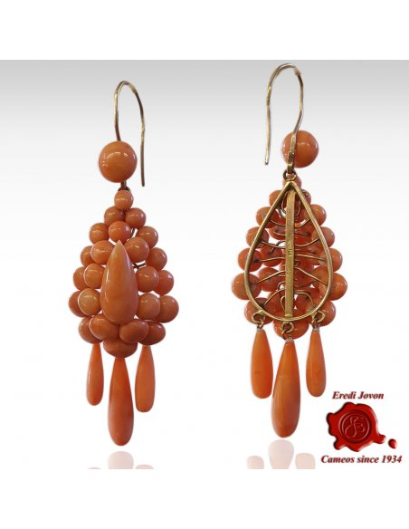 Antique Coral Three Tear Drop Earrings