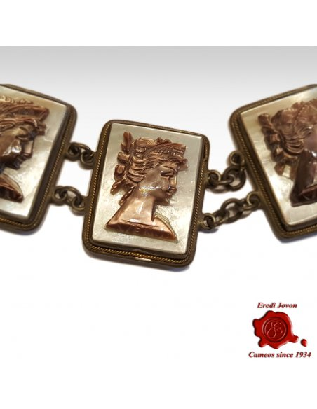 Mother of Pearl Cameo Silver Bracelet