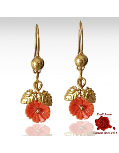 Antique Coral Roses Gold Dangle