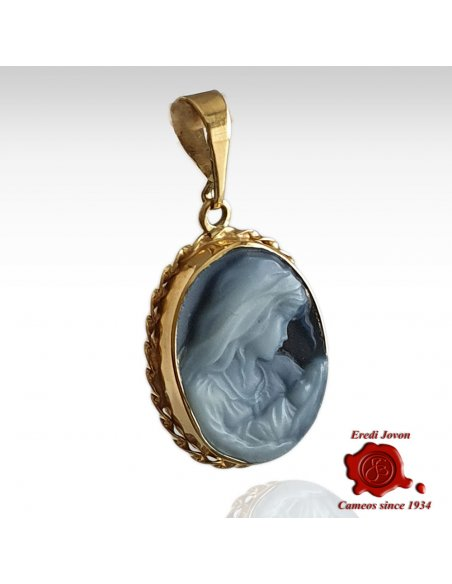 Virgin Mary Cameo Necklace in Gold Set