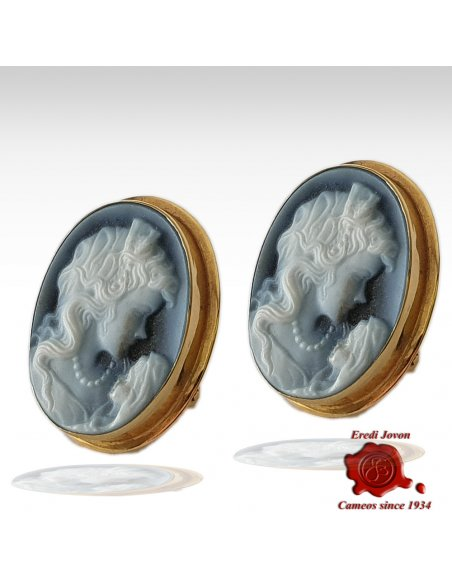 Cameo Earrings Mother with Child Gold
