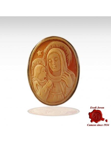 Holy Virgin Shell Cameo Brooch