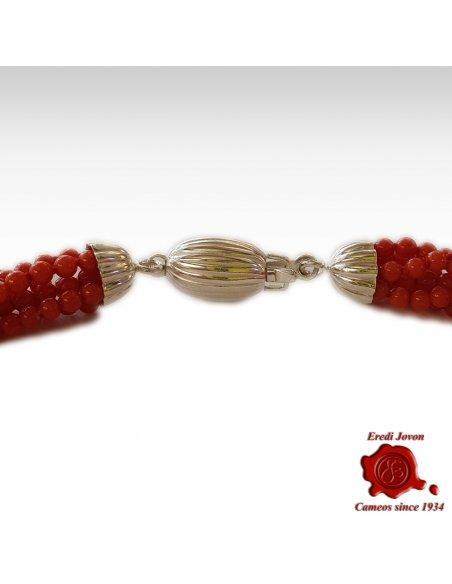 Collana Torchon Corallo Rosso Argento