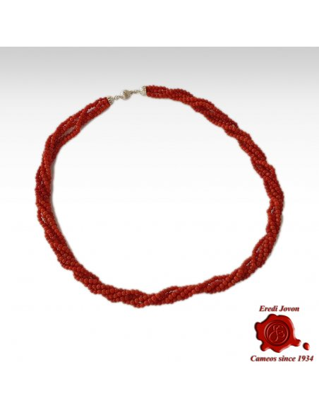 Twisted Genuine Red Coral Necklace