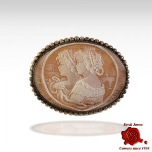 Twin Sisters Cameo Brooch