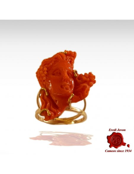 Coral Cameo Ring in Gold