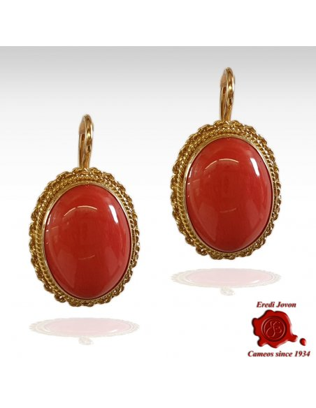 Red Coral Gold Earrings Dangle Big