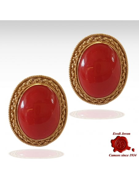 Red Coral Earrings Gold Omega Back