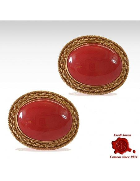 Orecchino Oro e Corallo Rosso Clip e Buco