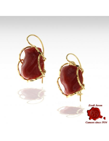 Handcraft Red Coral Earrings in Silver Gold Plated