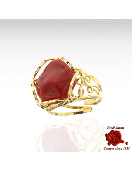 Red Coral Ring Silver Gold Plated