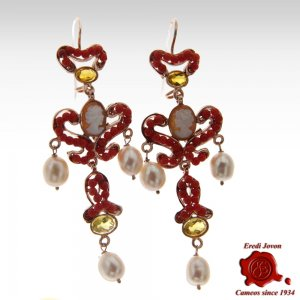 Red Coral Dangle Earrings...