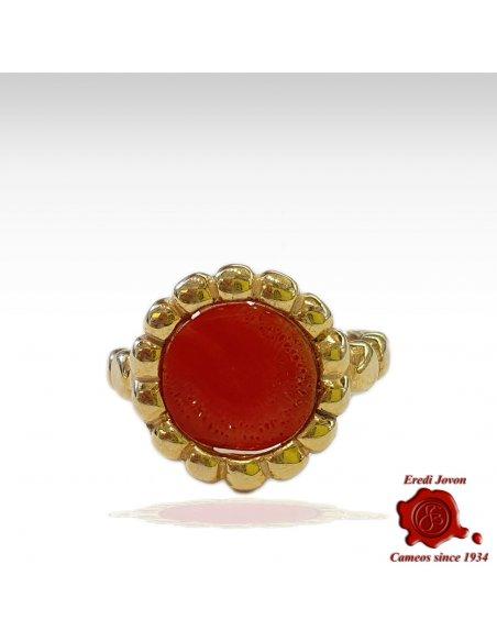Anello in Corallo Rosso Argento Dorato Bizantino