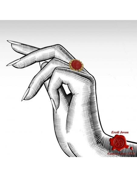 Anello in Corallo Rosso Argento DoratoBizantino