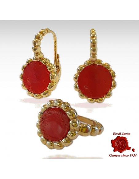 Orecchini in Corallo Rosso Argento Dorato Bizantino