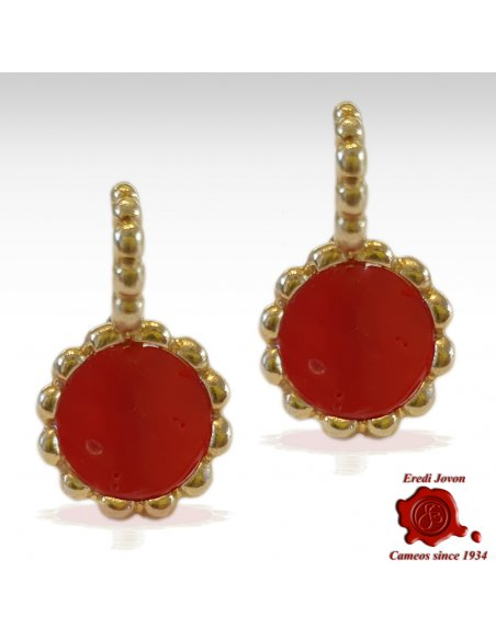 Red Coral Earrings Silver Gold Plated