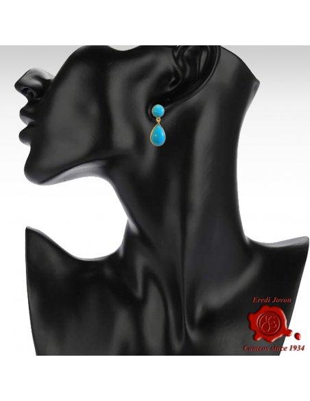 Tear Drop Turquoise Earrings in Yellow Gold