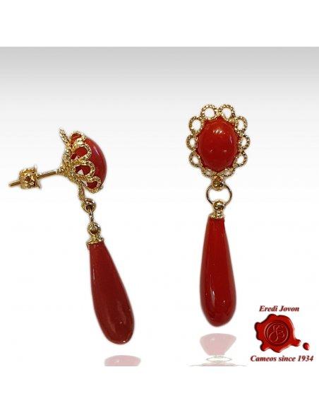 Orecchini Goccia Corallo Rosso Filigrana Oro