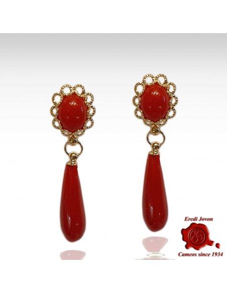 Red Coral Tear Drop Earrings Dangle